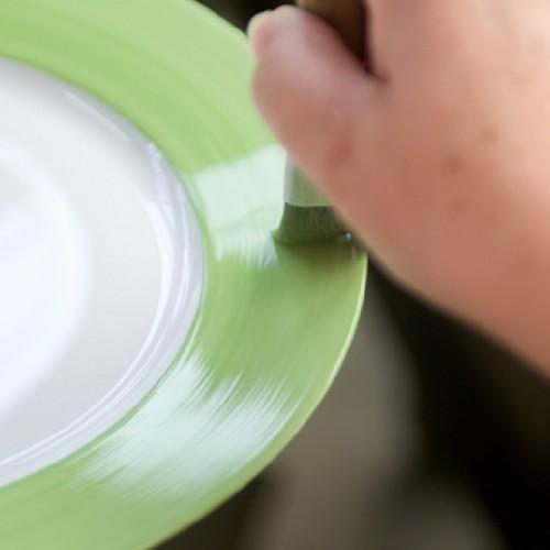 Photo Pose D'une Couleur Unie Sur Une Aile D'assiette, Photo. Porcelaines J. Seignolles.