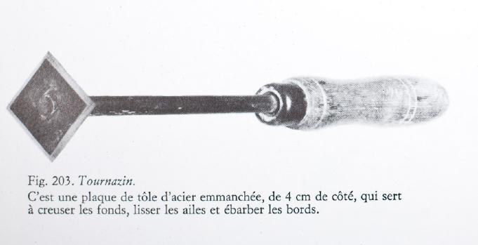 Photo Un tournazin, outil incontournable du modeleur. Source La porcelaine de Limoges de J. d'Albis et C. Romanet, 1980.